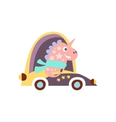 Unicorn in racing car stylized fantastic vector