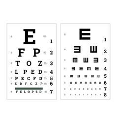 Eyes test charts with latin letters medical vector