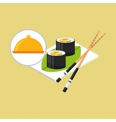 Food serving tray sushi design vector