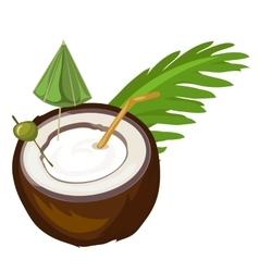 Coconut cocktail with straw umbrella and olive vector
