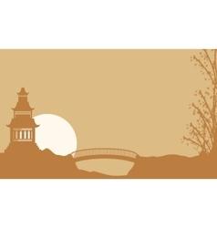 Beauty landscape pavilion with bridge silhouette vector