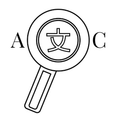 Magnifier interpreter icon outline style vector
