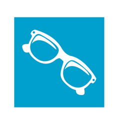 blue square frame with sunglasses icon vector image
