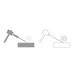 Hammer and wood carpentry set icon vector