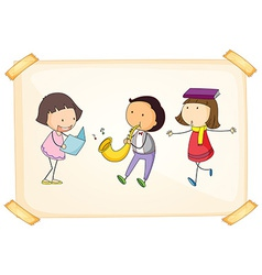 A frame with three adorable kids vector