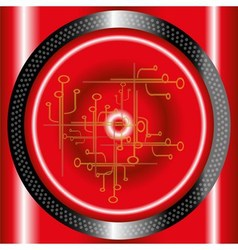 Red technology circle background vector