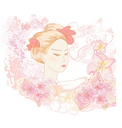 Abstract beautiful geisha doodle portrait vector