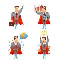 Superhero businessmen character icons set vector image
