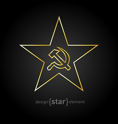 Gold star with socialist symbols on black vector