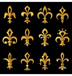 Fleur-de-lis golden set vector image