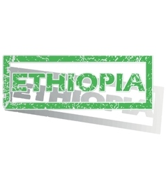 Green outlined ethiopia stamp vector