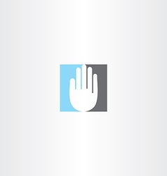 Blue black human hand icon logo vector