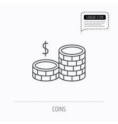 Coins icon dollar cash money sign vector