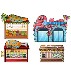 A fruitstand an aquarium a food stall and a bakery vector image vector image