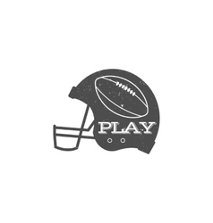 American football helmet with ball in vintage vector image