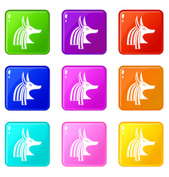 Ancient egyptian god anubis icons 9 set vector