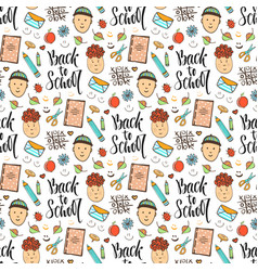 Back to school doodle seamless pattern with funny vector