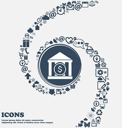 Bank icon in the center around the many beautiful vector