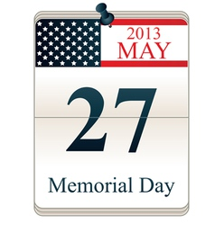 Calendar for Memorial Day vector image vector image