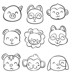 Doodle of animal various hand draw vector