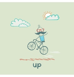 man flying on a bicycle vector image vector image