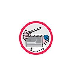 Movie director holding clipboard cartoon vector