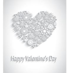 paper heart with a pattern of snowflakes vector image vector image