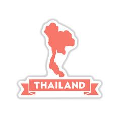 Paper sticker on white background thailand map vector