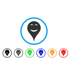 Pleasure smiley map marker rounded icon vector