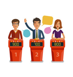quiz show game concept players answering vector image