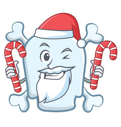 Santa with candy skull character cartoon style vector