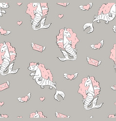Seamless pattern with sea horses vector