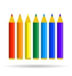 Seven pencils of rainbow colors vector image vector image