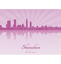 Shenzhen skyline in purple radiant orchid vector image