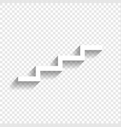 Stair up sign white icon with soft shadow vector