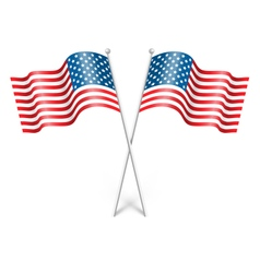 Wavy usa national flags isolated on white vector
