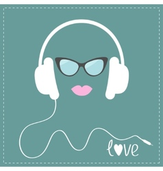 White headphones with cord sunglasses and pink vector