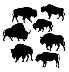 Wild bull silhouettes vector