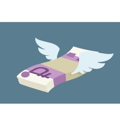 Winged pack of russian rubles vector