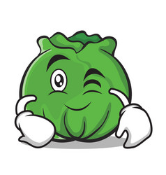 Wink cabbage cartoon character style vector