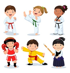 Martial arts kids children fighting judo taekwondo vector
