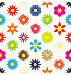 Colorful simple retro small flowers set seamless vector