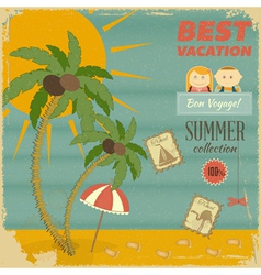 Vacation card in retro style vector