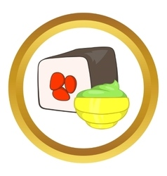 Sushi roll and wasabi icon vector