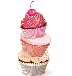 Pyramid of cupcakes vector