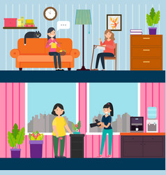 flat woman interests horizontal banners vector image