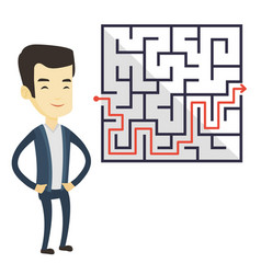 Business man looking at labyrinth with solution vector