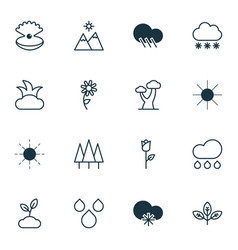 Set of 16 world icons includes raindrop vector