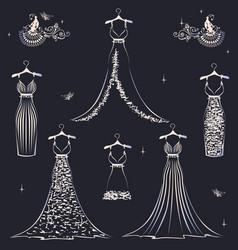 beautiful wedding dress set vector image