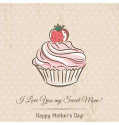 Mothers day card with cupcake and wishes text vector